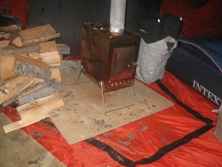 печь для рыбацкой палатки
