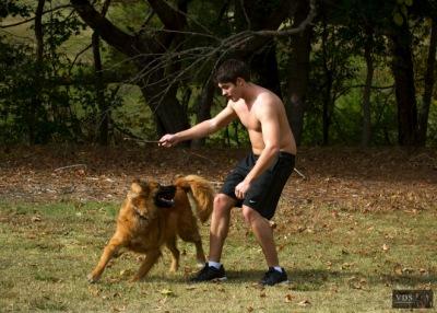 Стивен на прогулке со своей собакой в Атланте [8 ноября]