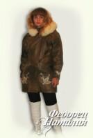 Роспись кожи.  Курточку перешивала из пальто на 3 размера больше.