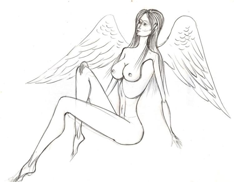 рисунки девушек ангелов: