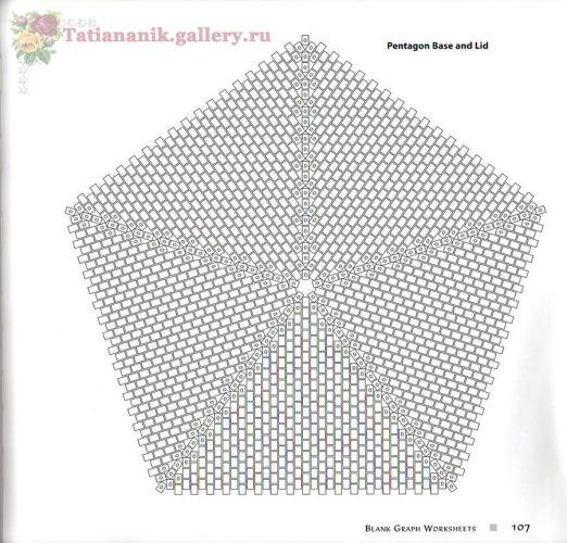 Квадратные и пятиугольные бублики из бисера.