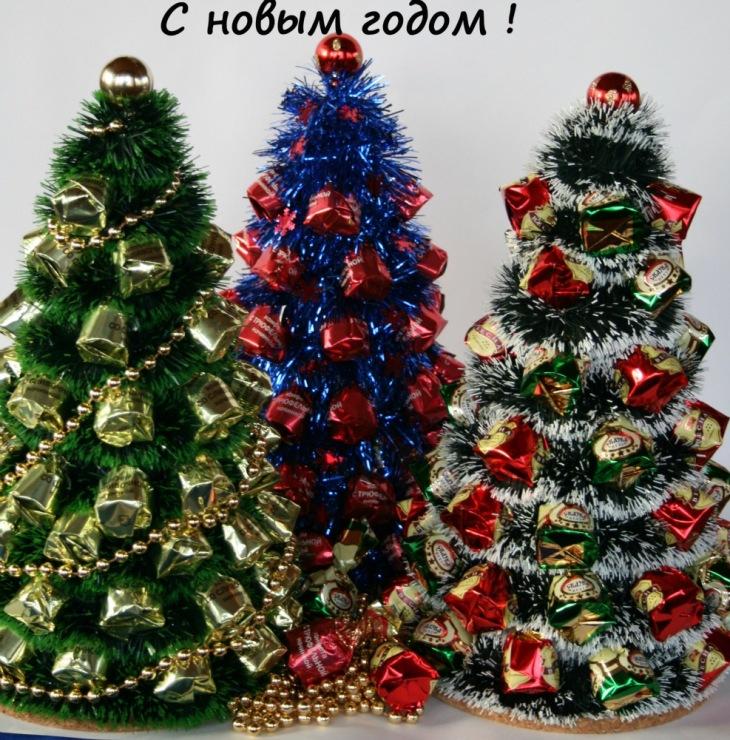 Подарки на новый год из конфет своими