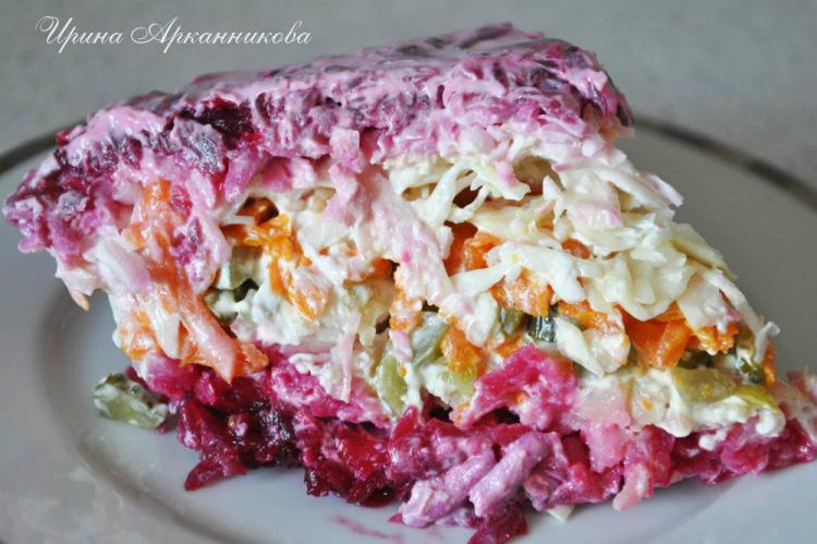Слоеные овощные салаты рецепт с