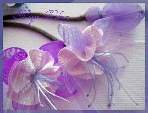 Цветы из ленты и бисера