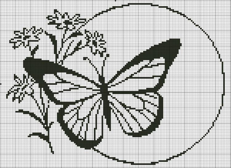 Схемы для вышивки монохром цветы 14