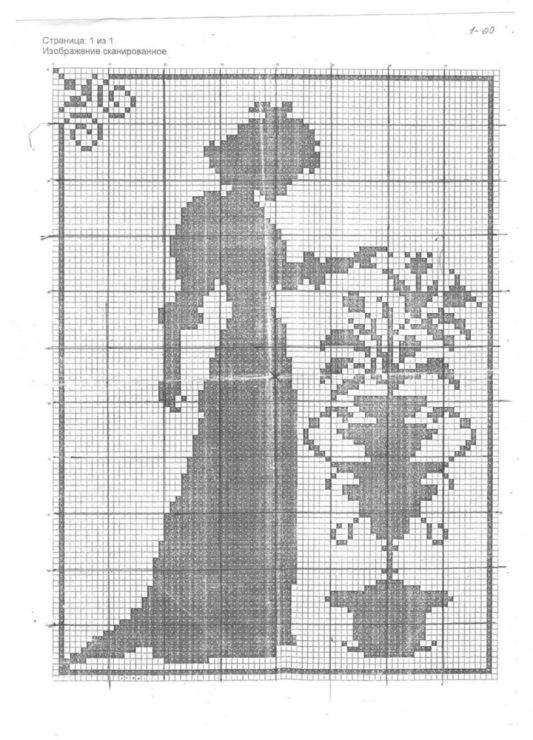 Схема вышивки силуэт цветка
