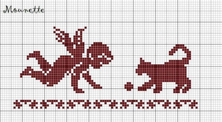 Схема для вышивки крестом монохром для начинающих 63