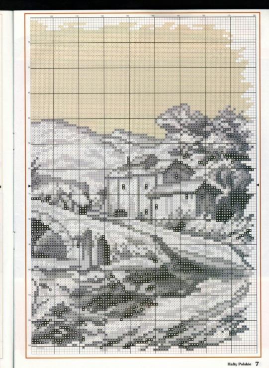 Вышивка крестом монохром пейзаж схемы 988