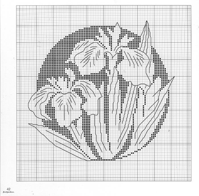 Схемы для вышивки монохром цветы 386