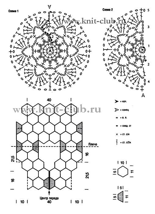 Болеро крючком из мотивов крючком схемы